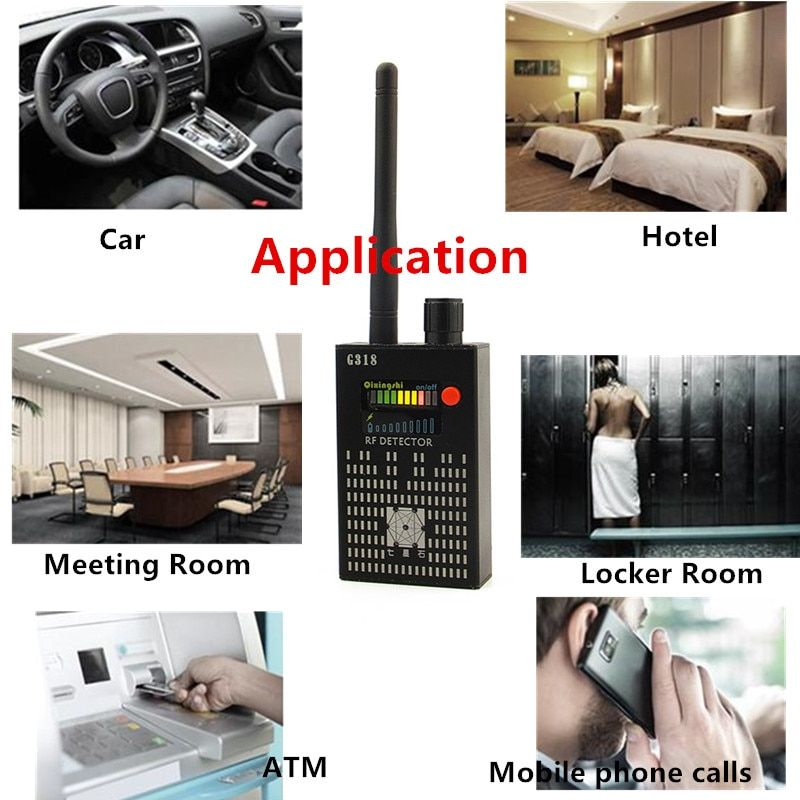 1MHz-8000MHz Radio Detection Anti Spy Signal Hidden Camera GSM Audio Bug Finder 4G GPS Signals Lens RF Tracker Detectors Black