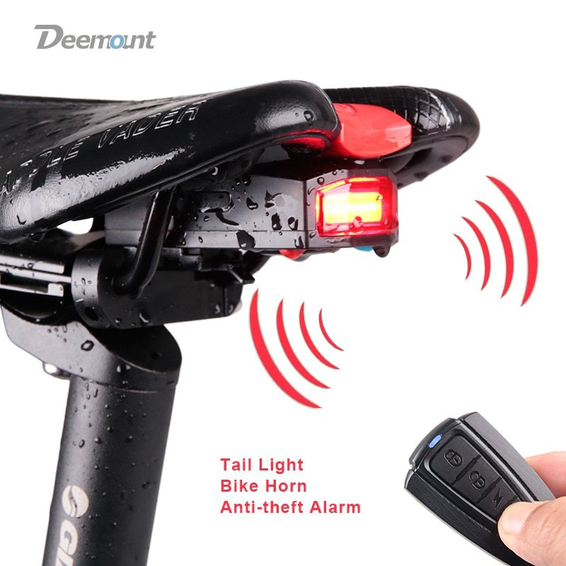 Bicycle <font><b>Rear</b></font> Light + Anti-theft Alarm USB Charge Wireless Remote Control LED Tail Lamp Bike Finder Lantern Horn Siren Warning