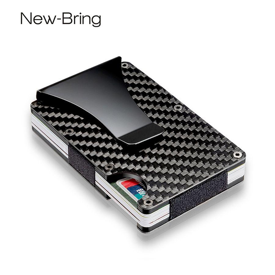 NewBring 100% Real de Fibra de Carbono Mini Tarjeta de Crédito Titular ID Con Carpeta de la Tarjeta de RFID Anti-ladrón Compacto