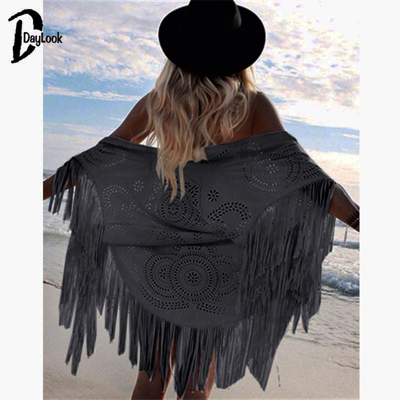 DayLook Fashion Design Faux Suede Shawl White Hollow Out Floral Cut Out Asymmetric Tassel Kimono Capes Summer Style