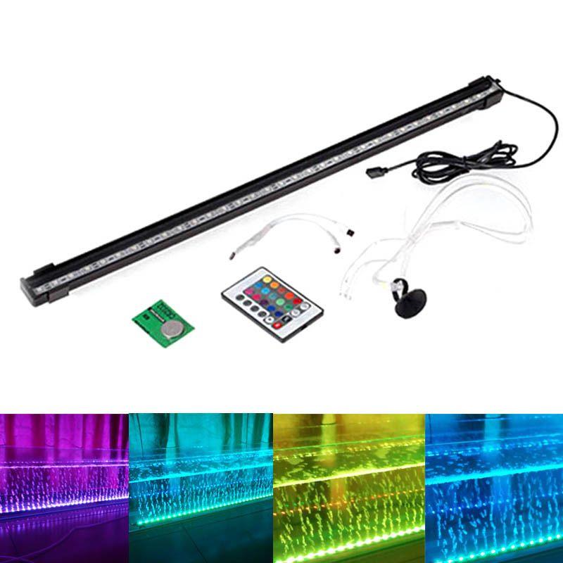 16/26/36/46/56CM LED Fish Tank Light RGB Bar Air Bubble <font><b>Lamp</b></font> Submersible Waterproof Aquarium Fish Aquatic Pet Lighting