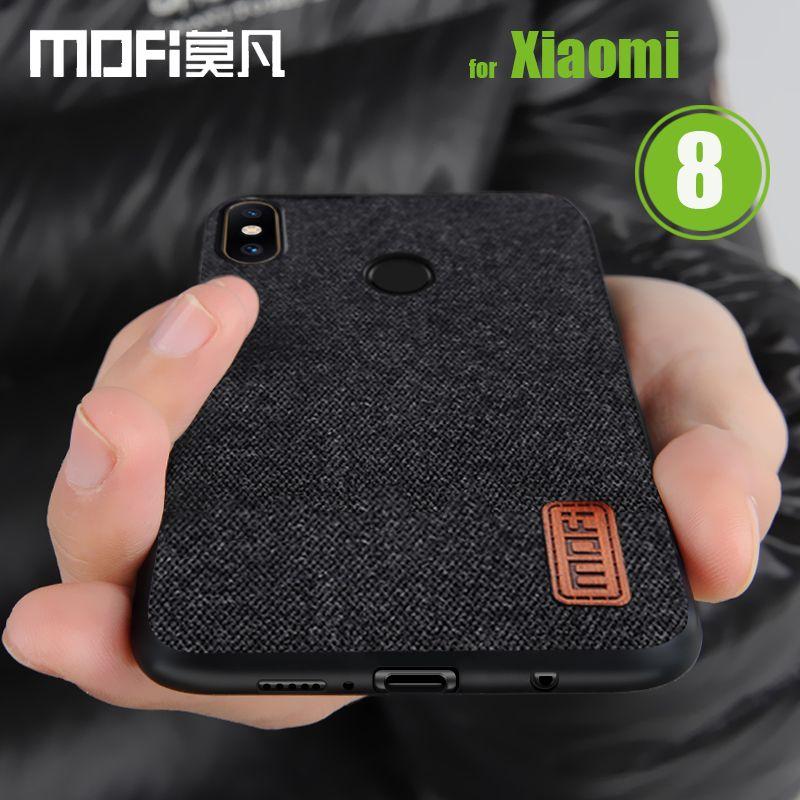 Mofi Capa pour Xiaomi MI 8 Cas Mofi Toile Tissu Splice souple En Silicone Téléphone D'affaires Sac de Couverture Arrière pour Xiaomi MI8 M8 Shell
