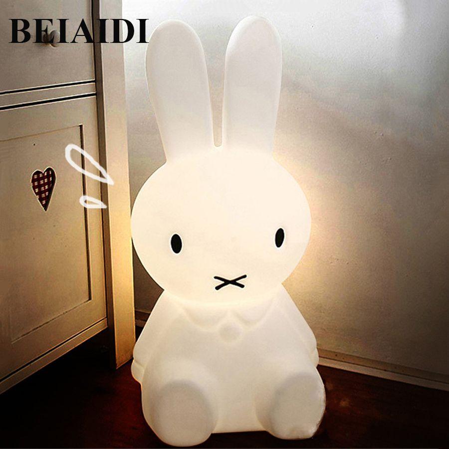 BEIAIDI 50CM BIG Rabbit Cute Night Light Dimmable Rabbit Cartoon Night Sleeping Light Baby Kids Bedroom Bedside Desk Table Lamps