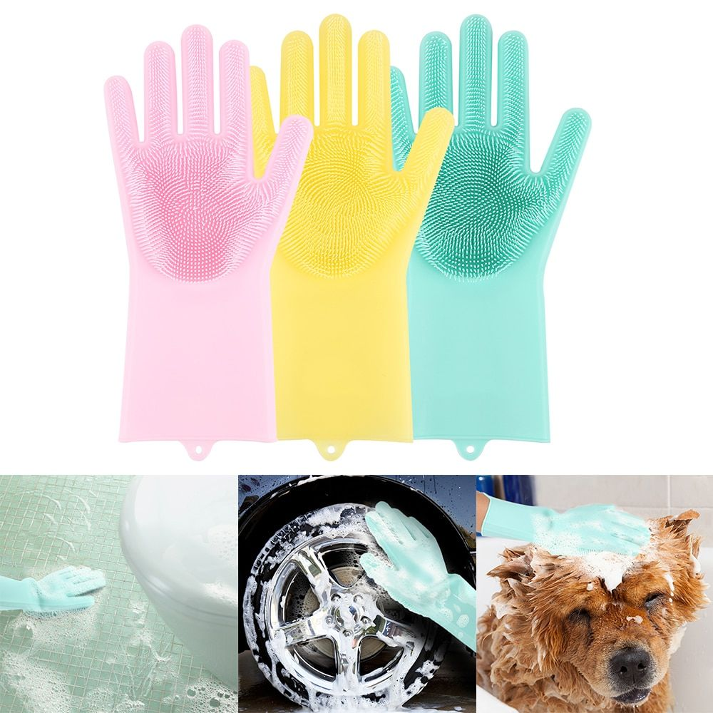 1 paire de gants de vaisselle magique pour la maison gants en Latex de Silicone gants de nettoyage écologique pour le ménage et le jardin