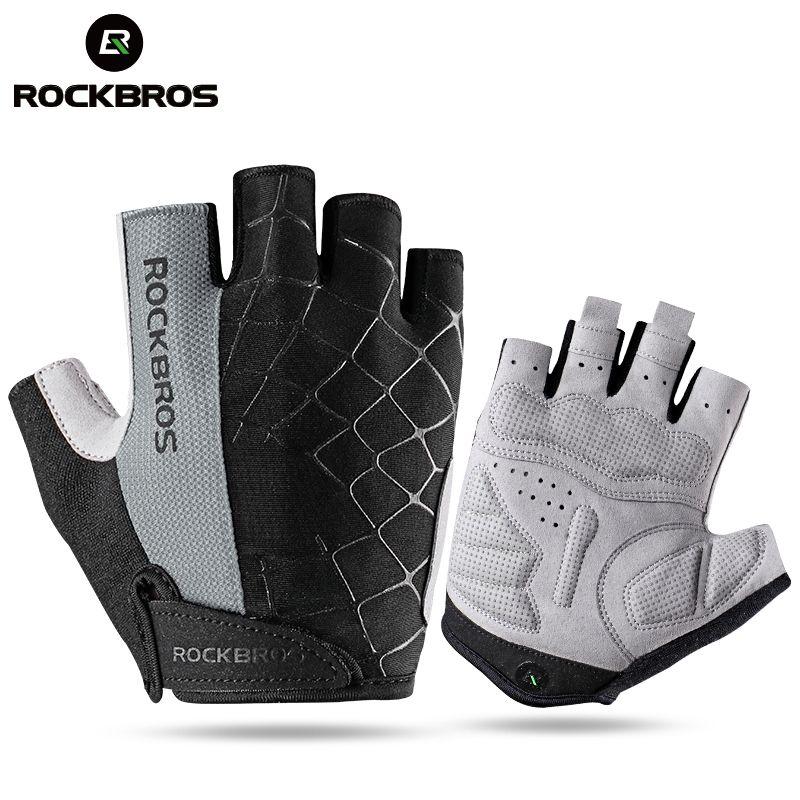ROCKBROS Cycling Gloves Half Finger Shockproof Wear Resistant Breathable MTB Road Bicycle Gloves Men Women Sports Bike Equipment