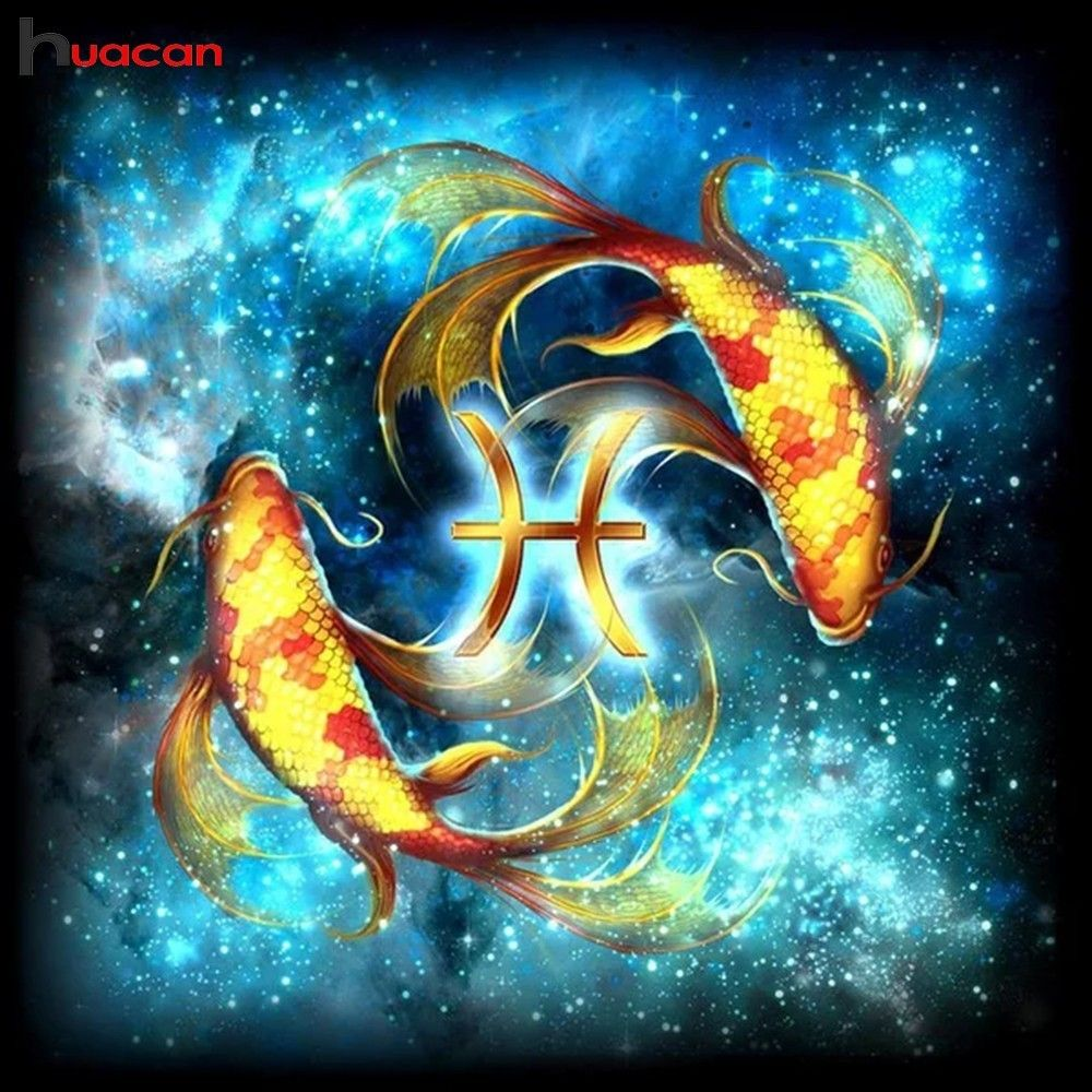 HUACAN 3D DIY Diamond Embroidery Animals DIY Mosaic Painting Diamond Painting Pisces Cross Stitch Full Drill Decoration Home