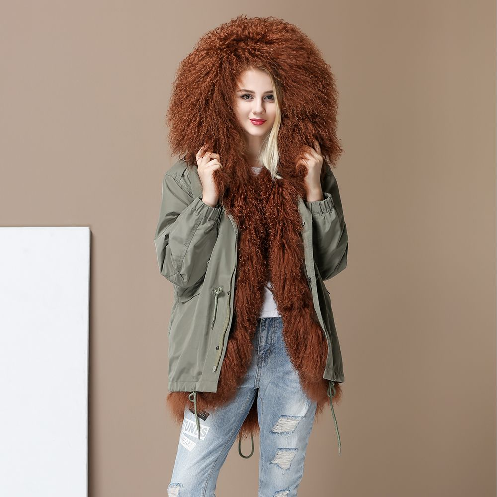 New High Fashion Women's Luxurious lambskin lamb fur parka MIDI mongolia sheep fur Hooded Coat Outwear Winter Jacket