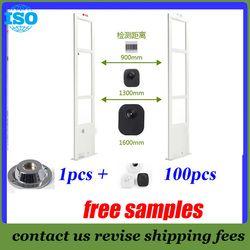 EAS 8.2 MHz EAS System dengan Solusi Antena RF Anti Shoplifting Sistem 2 Pintu + 100 Keamanan Tag dan magnetic Detacher