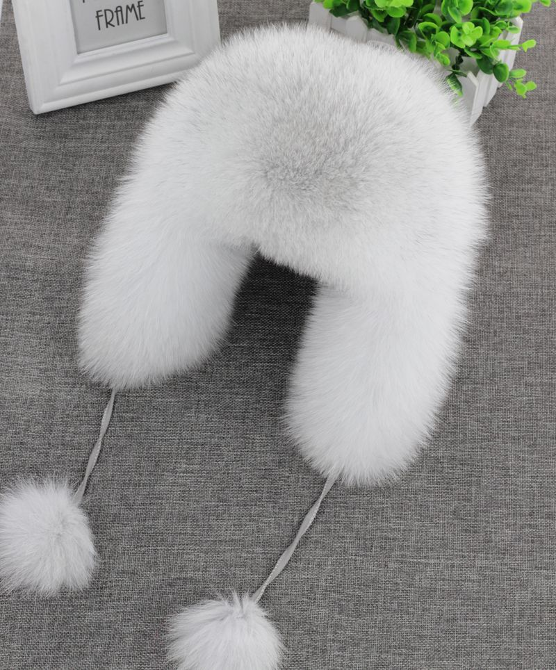 On Sale 100% Real Fox fur Women's Russian Ushanka Aviator trapper snow skiing Hat caps earflap winter raccoon fur Bomber hat