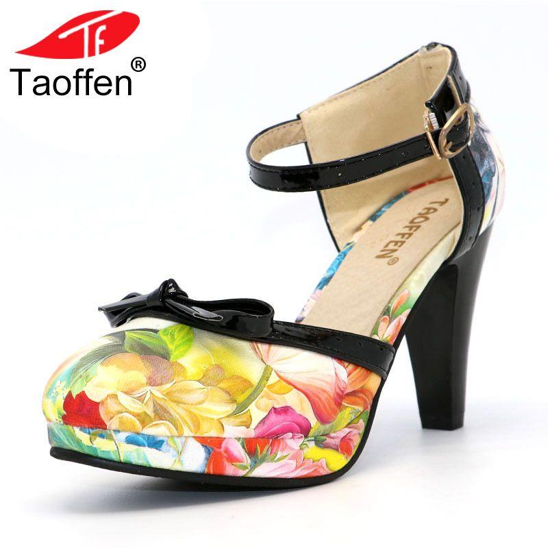 TAOFFEN Plus Size 32-48 Women High Heel Shoes Round Toe Heels Sandals Women's Print Platform Sandals Black bow Party Footwears
