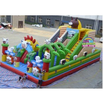 Commercial outdoor inflatable zoo bouncy castle, inflatable fun city, inflatable jumping castle for kids and adults