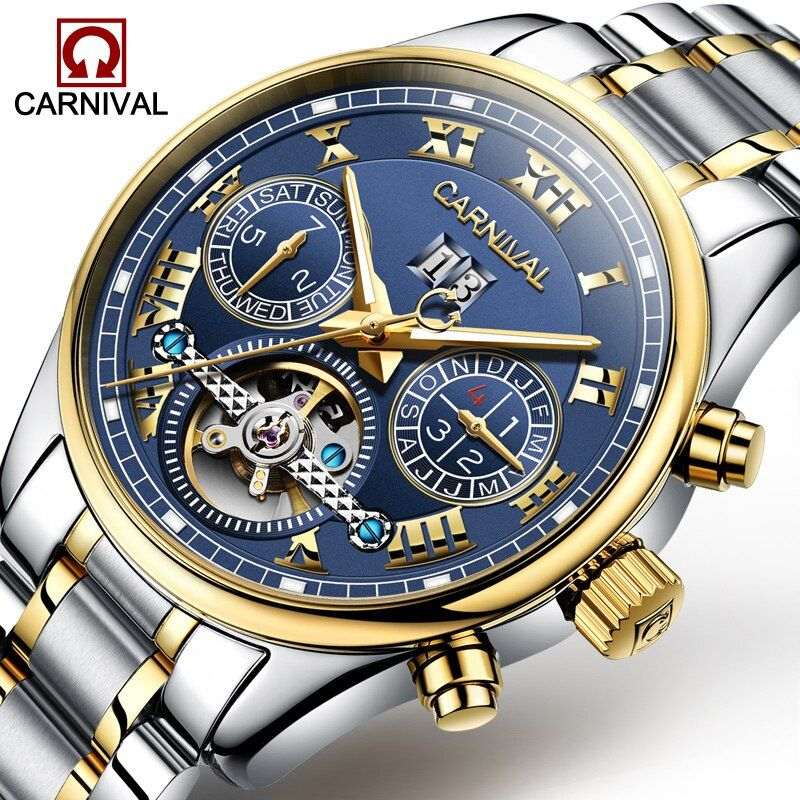 Carnival Watch Men tourbillon Automatic Mechanical Stainless Steel Waterproof multifunction Blue Dial Watches