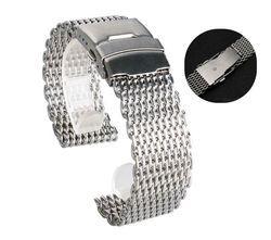 18 Mm 20 Mm 22 Mm 24 Mm Stainless Steel Milanese Hiu Mesh Watch Band Tali Gelang Perak untuk Omega tissot Seiko Jam Tangan