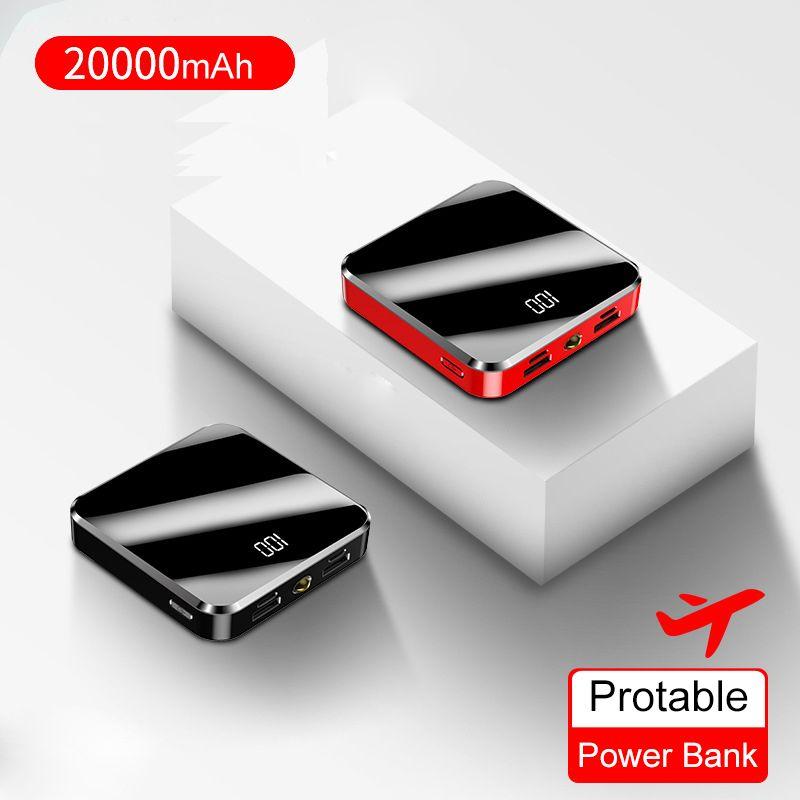 20000mAh Portable mini batterie externe écran miroir affichage numérique paupérine batterie externe Powerbank pour téléphone Portable intelligent