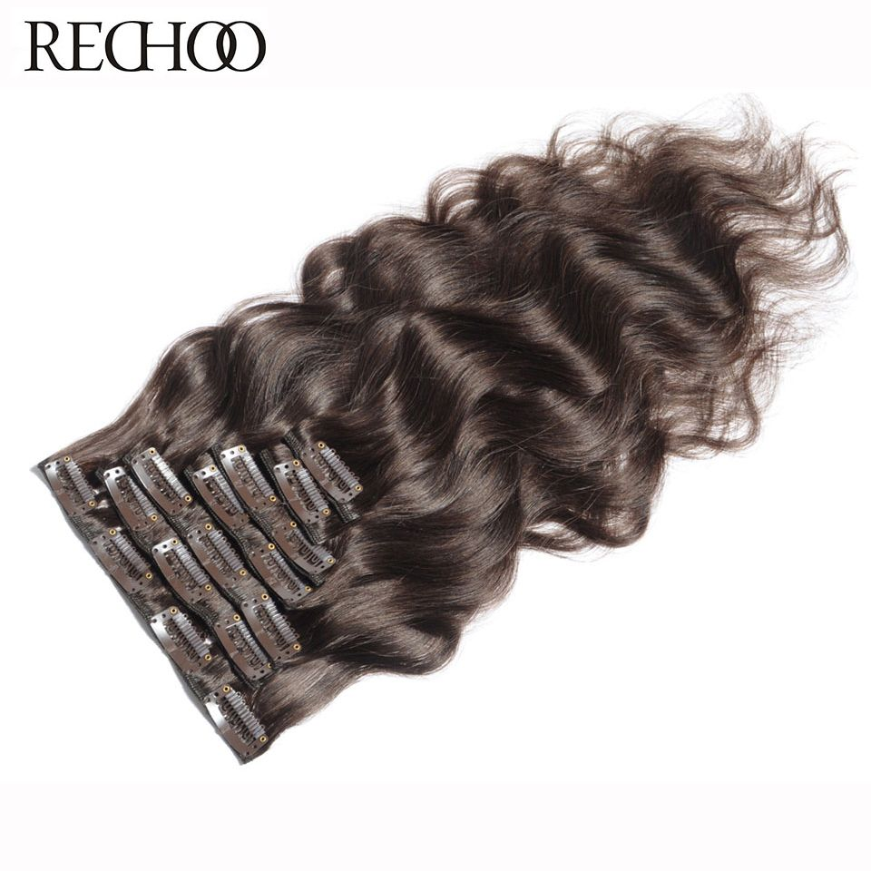 Rechoo Machine Made Remy Brazilian Clip In Human Hair Extensions Body Wave Full Head Set 90g/set #4 Chocolate Brown Color Hair