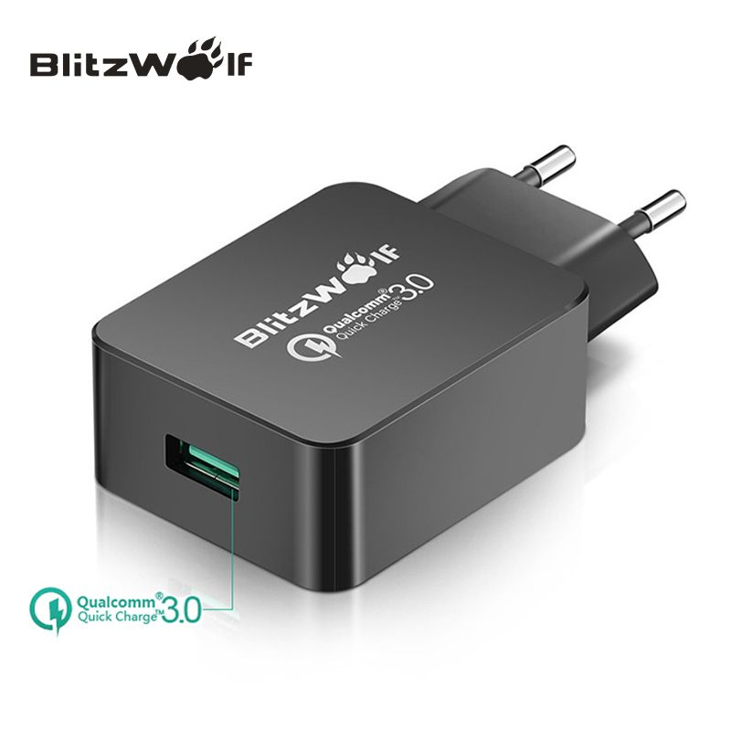 BlitzWolf <font><b>Travel</b></font> Wall Charger Quick Charge 3.0 USB Charger Adapter EU Plug 18W Universal Mobile Phone Charger For Iphone 7 6 6s
