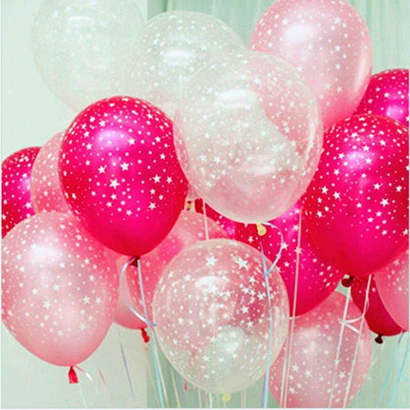 50 шт./лот Роза красный розовый прозрачный пять принт со звездой Перл латекс гелием шар 12 дюймов 3.2 г свадебные День рождения декоративные дет...