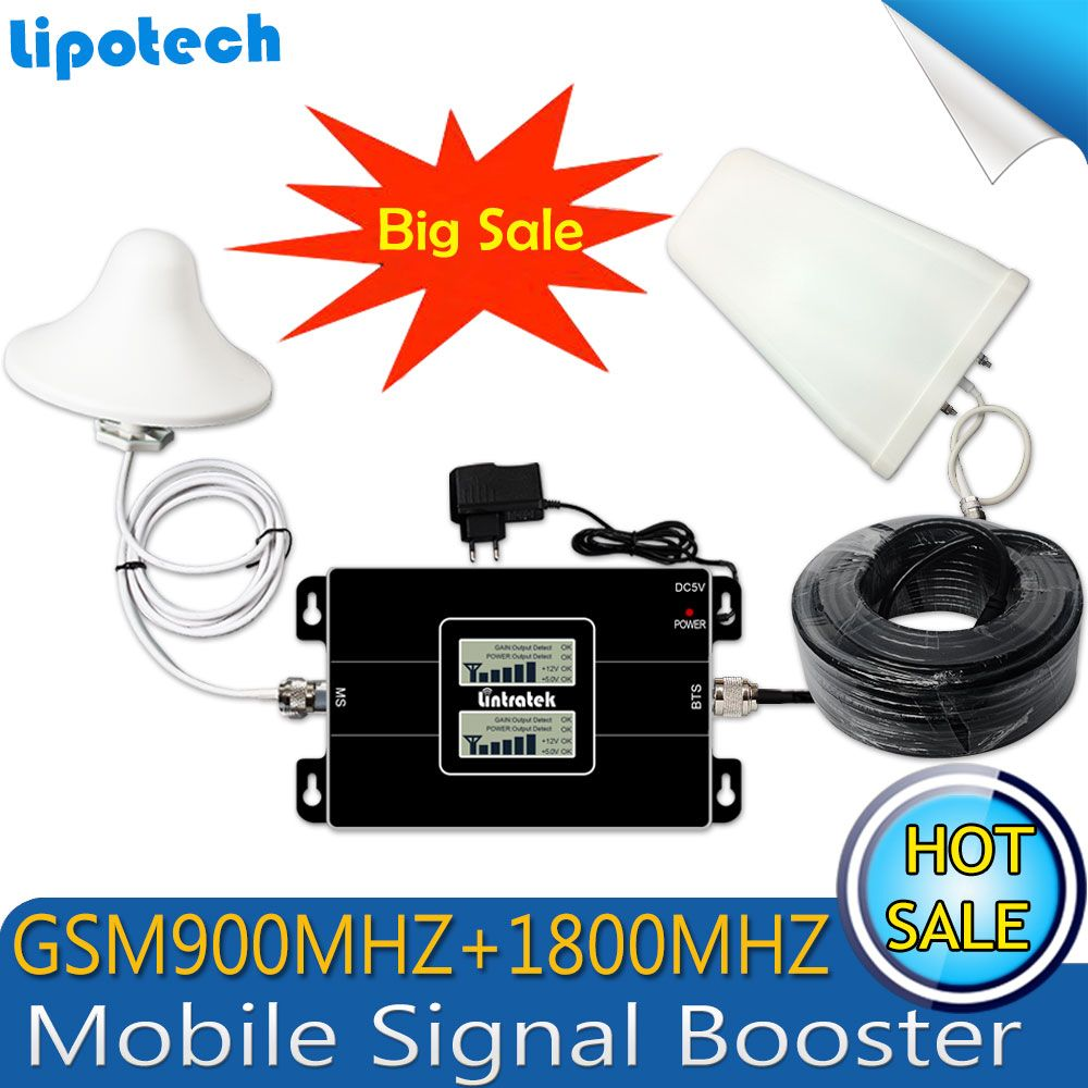 2017 Lintratek Dual LCD Displays GSM 900 4G LTE 1800 Repeater GSM 1800mhz Mobile Signal Booster 65dB Dual Band Repetidor Celular