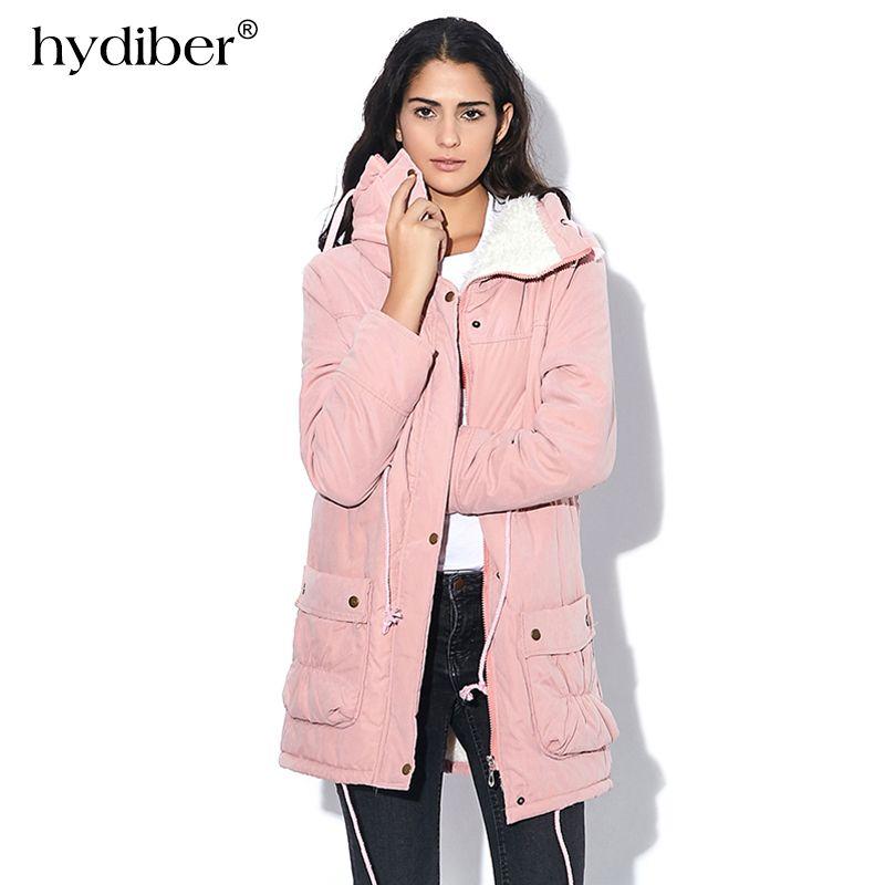 HYDIBER New 2018 Winter Coat Women Slim Plus Size Outwear Medium-Long Wadded Jacket Thick Hooded Cotton Fleece Warm Cotton Parka