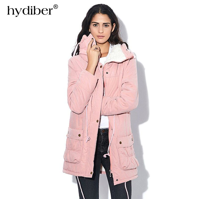 New 2018 Winter Coat Women military Outwear Medium-Long Wadded <font><b>Hooded</b></font> snow Parka thickness Cotton Warm casual Jacket Plus Size
