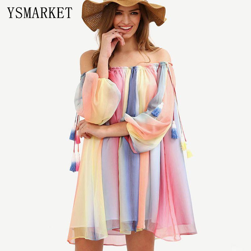 Summer Beach Colorful Kaftan Dress Rainbow Sexy Ruched Beachwear Dress Chiffon Tunic Loose Sun Protection Outings Mini 1739