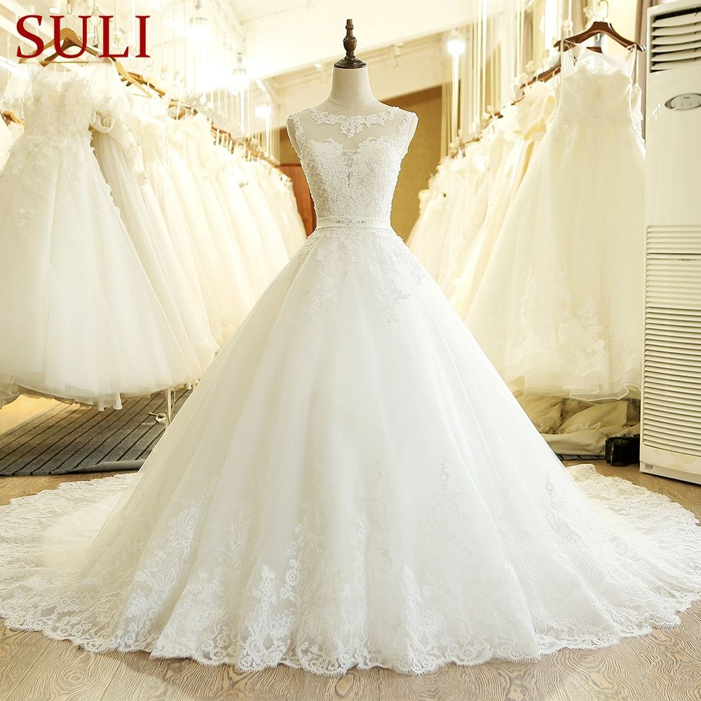 SL-1T Custom Made A-Line Lace Appliques China Wedding Dress 2017