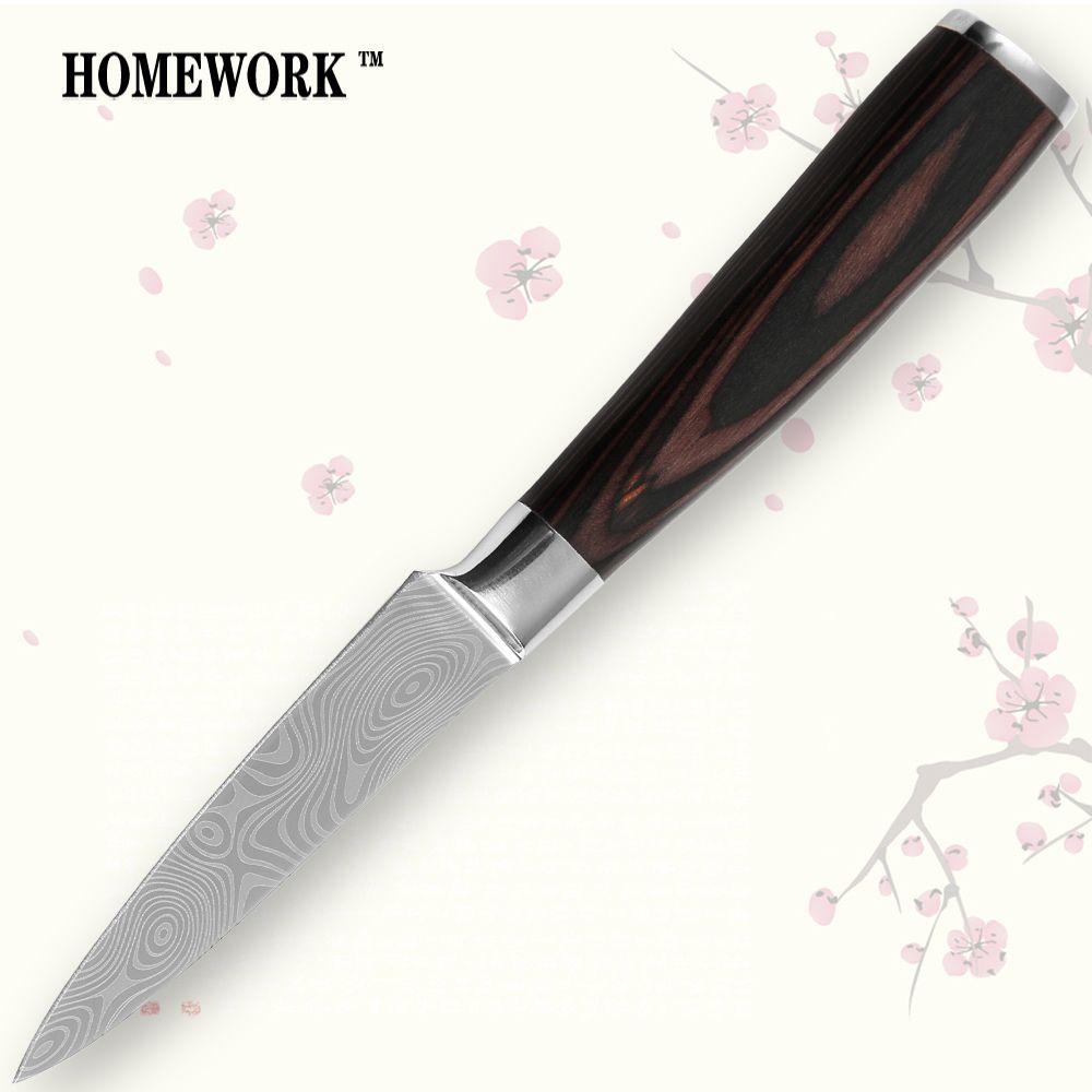 7CR17 couteau d'office en acier inoxydable 3.5 pouces couleur manche en bois couteau de cuisine lame tranchante damas veines outils de cuisson vente chaude