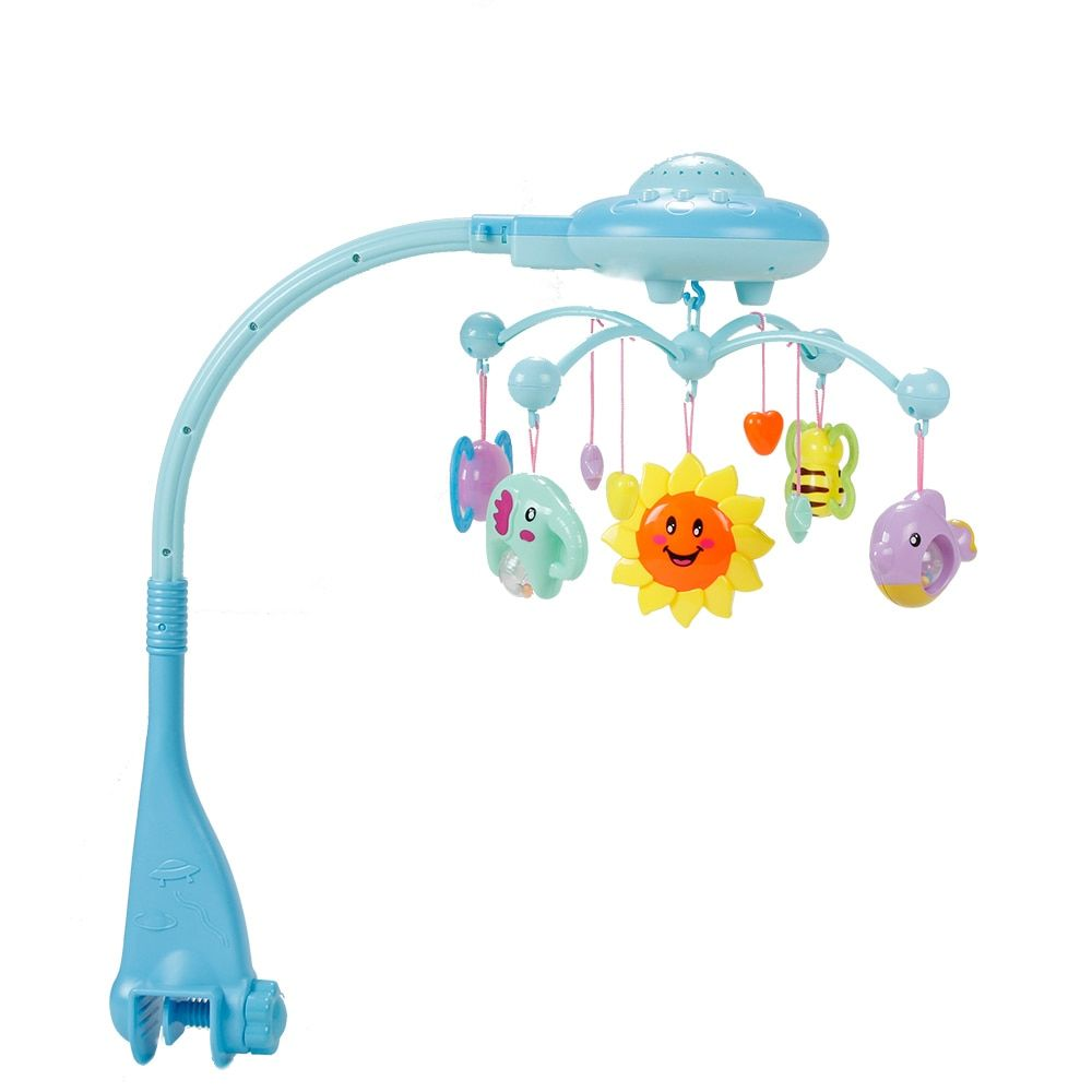 Baby Musical Crib Mobile Bed Bell Toys Hanging Rattles Newborn Infant Starry Flashing Projection Rotating Toy Holder Bracket