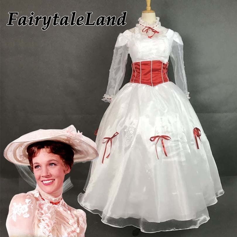 Mary Poppins cosplay costume Adult Women Halloween Costumes Cosplay Mary Poppins dress fancy costume custom made