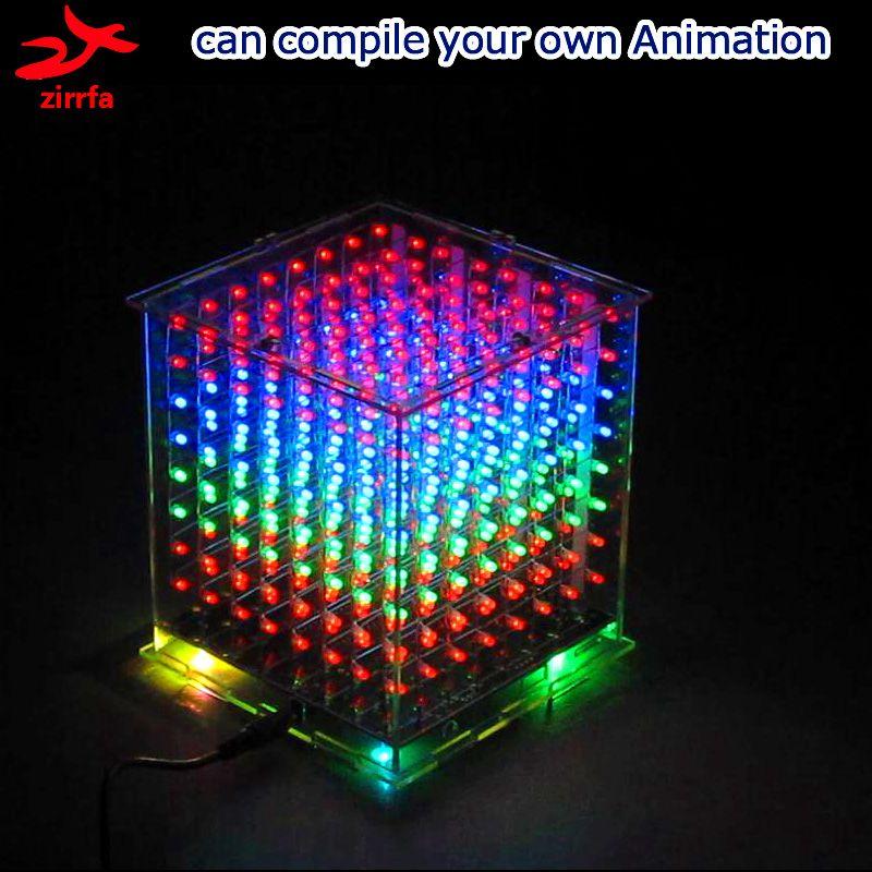 Diy électronique 3D multicolore led lumière cubeeds kit avec D'excellentes animations 3D8 8x8x8 cadeau led affichage électronique diy kit