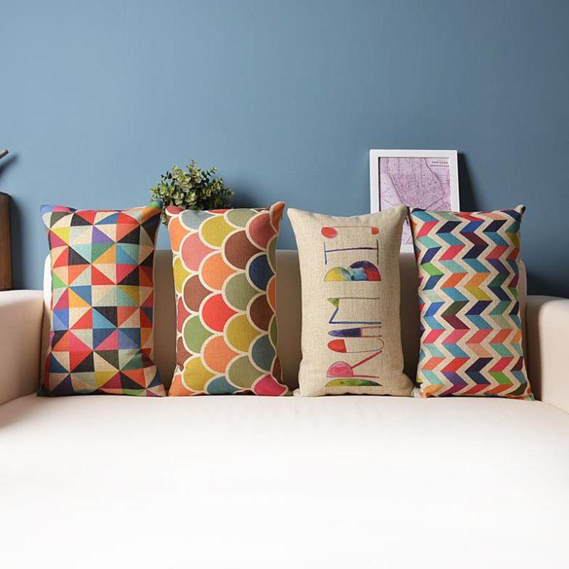Decorative Throw Pillow Cushion Cover Geometric Lumbar Colorful Gift Cushions Home Rectangle
