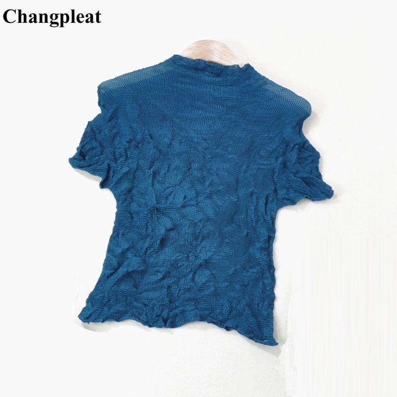 Changpleat 2019 Sommer Neue Frauen T-shirts Tops Miyak Plissee Mode Stehen Kragen Solide kurzarm Große elastische Weibliche T-shirt