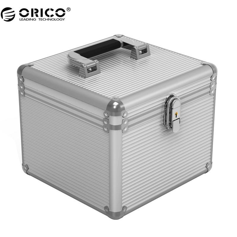 Orico bsc35 aluminium hdd box 5/10 3,5-zoll festplatte schutz aufbewahrungsbox mit locking-silber