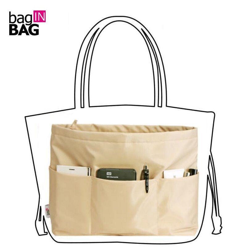 Сумочка сумка в мешок Организатор Вставка Организатор Tidy Путешествия косметической карман, молния, коричневый, Бизнес