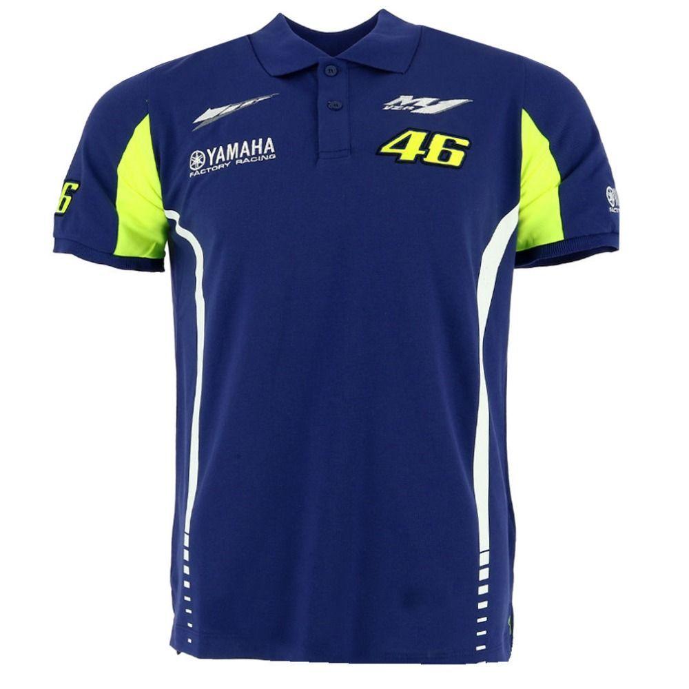 free shipping 2017 MOTO GP Valentino Rossi VR46 for Yamaha VR46  MotoGP Blue Men's Polo Shirt