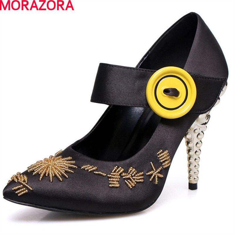 MORAZORA 2018 new embroidery beading Satin fashion women pumps shoes party unique shoes size 34-39