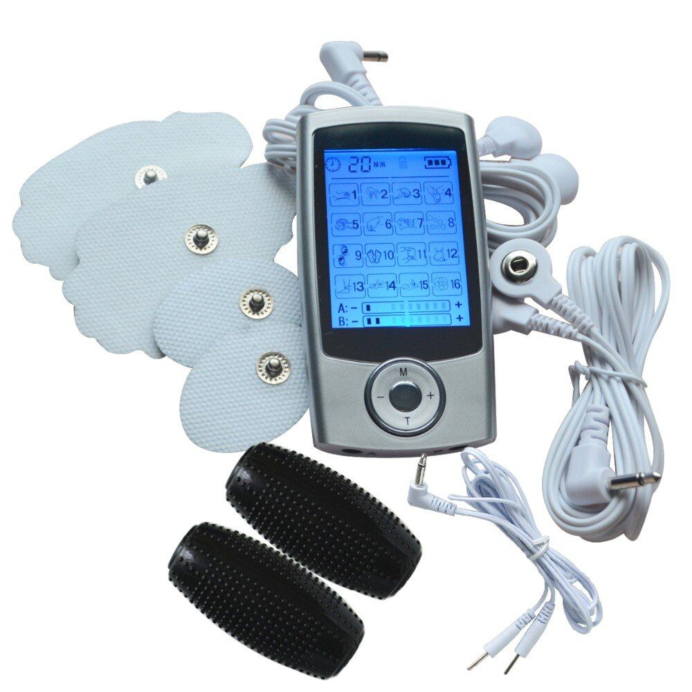 Full Body Massager Dual-Channels TENS/EMS Muscle Stimulator Machine+1Pair Electrode Hand Massage Ball For TENS Pain-Relieve