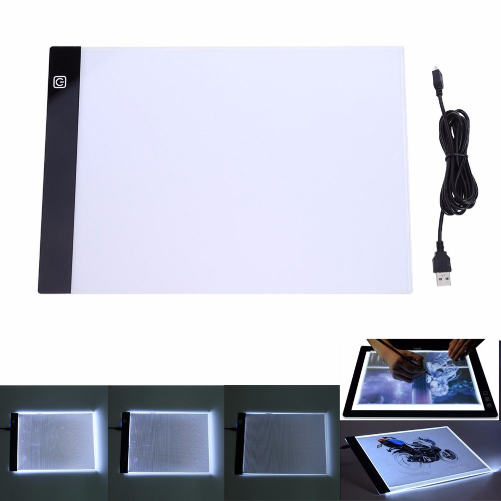 LED tablette graphique ecriture peinture boite a lumière planche de traçage bloc copie tablette dessin numérique Artcraft A4 copie Table panneau LED