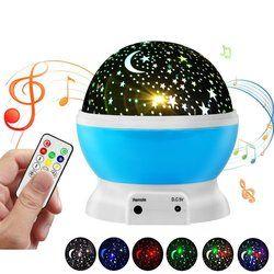 Rechargeable Nouveauté Moon Star Projecteur Tournant Night Light Enfants Bébé Pépinière Chambre USB Exploité Lampe W/À Distance Musique Haut-Parleur
