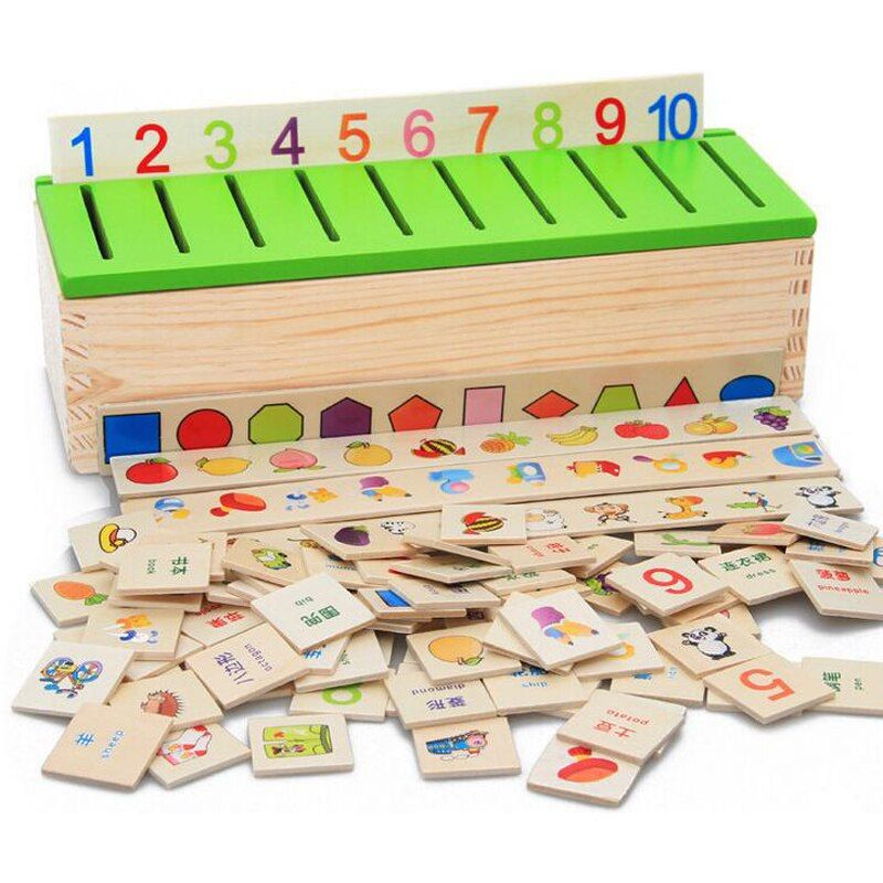 Free Shipping Montessori Matematica Knowledge Classification Box Montessori Materials Learn-checkers Toys for Children Wood Box
