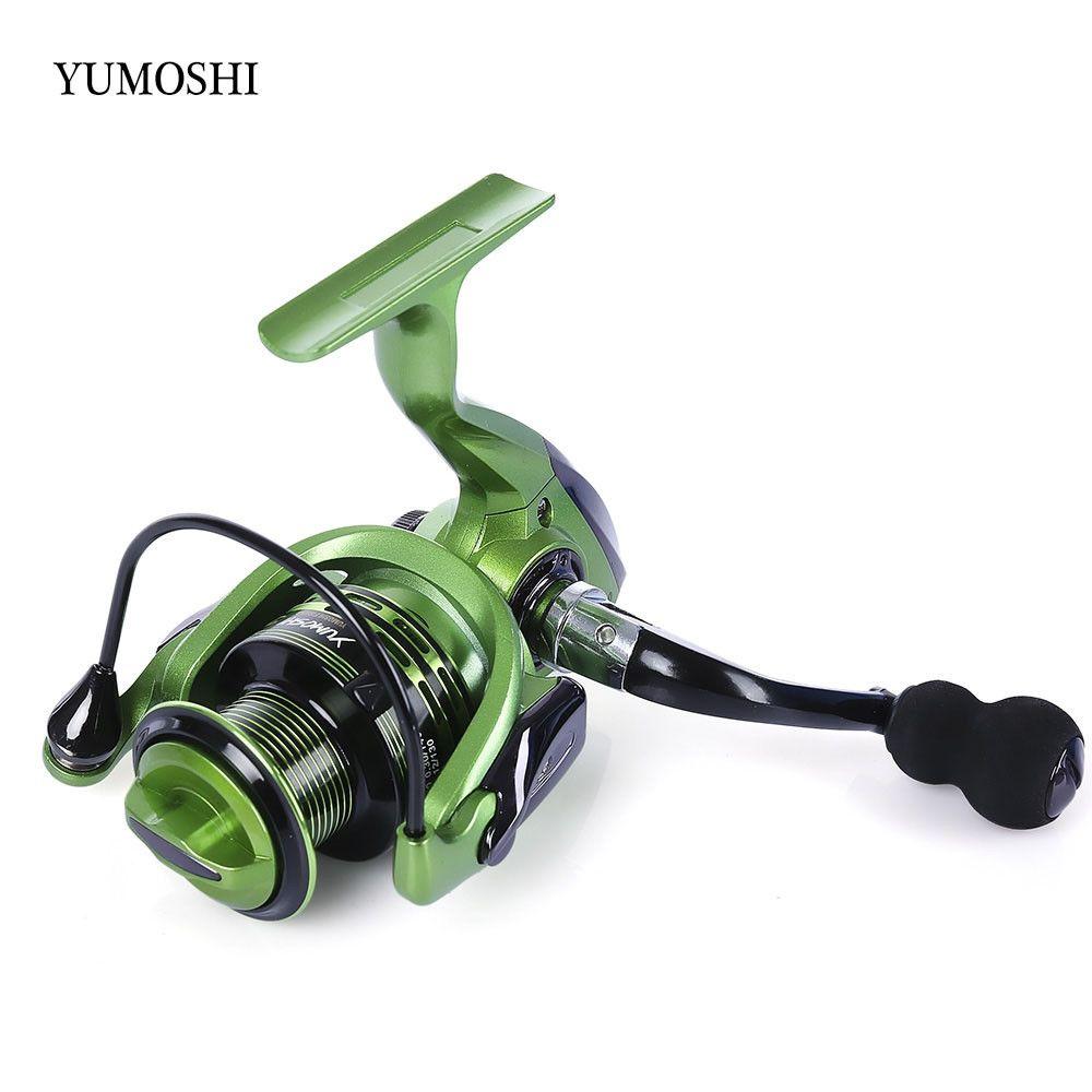 YUMOSHI 13+1BB Full Metal Spinning Fishing Reel 4.7:1/5.5:1 Gear Ratio Pesca Aluminum Spool Fishing Tackle With Foldable Handle