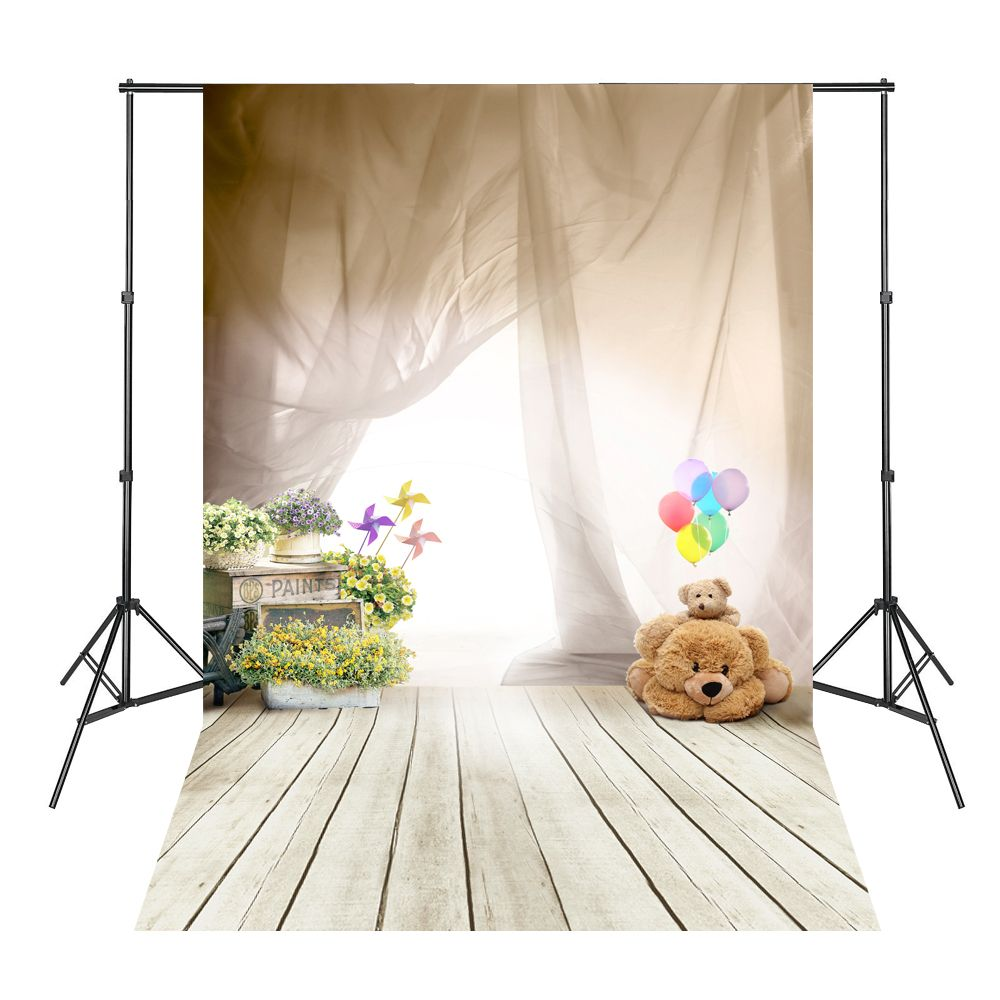Gauze Bears Flowers White Floor Wood Board Photography Background Photo Backdrops Fotografia Profissional