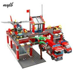 Mylb Kota Baru Stasiun Pemadam Kebakaran 774 Buah/Set Blok Bangunan DIY Pendidikan Batu Bata Mainan Anak Kompatibel dengan Legoe Terbaik Anak Xmas hadiah