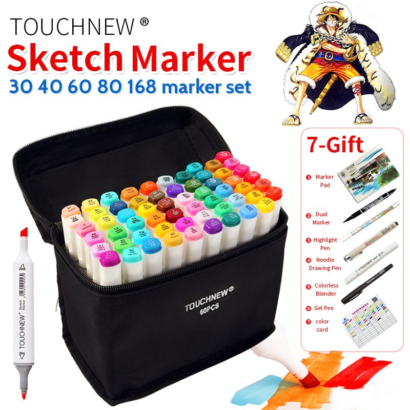 TOUCHNEW 30/40/60/80 Colors Art Marker Set Alcohol Based Sketch Marker Pen For Drawing Manga Design Art Set <font><b>Supplies</b></font>