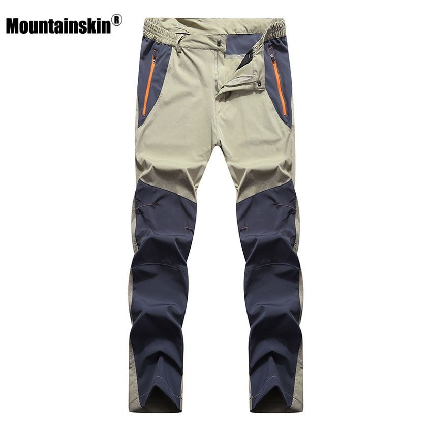 Mountainskin Men's Summer Elastic Quick Dry Pants Outdoor Sport Breathable Pants Hiking <font><b>Camping</b></font> Trekking Climbing Trousers VA210