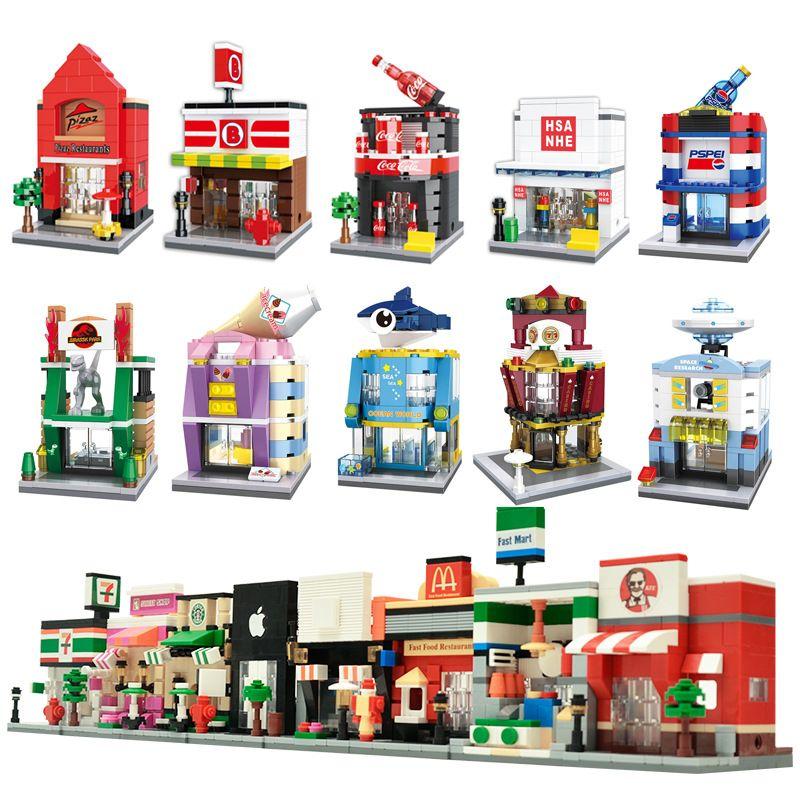 Ville Mini Rue 3D Modèle Boutique Détail KFCE McDonald Café Apple L'architecture Classique Building Block Toy Compatible Avec légèreté