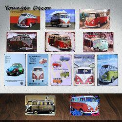 Vintage Home Decor Marque De Voiture Bus VW Combi Wagon Métal Signes peinture Art Affiche Garage Pub Bar Chambre Étain Plaque De Métal Plaque YA089