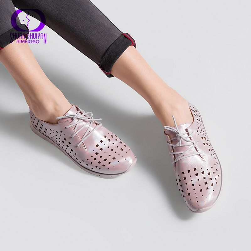 AIMEIGAO New Arrivals Fashion Casual Shoes Women Lace Up Flat Shoes Breathable Black Casual Shoes High Quality sapatos femininos