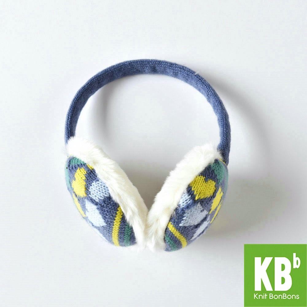 2017 KBB Spring    Blue Yellow Heart Pattern Fashion Lady Children Kids Women Men Knit Warm Plush Faux Fur Winter Earmuffs