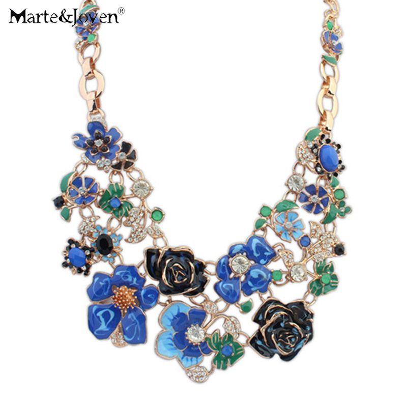 Nouveau design de mode shourouk Bijoux Luxueux grand fleurs collier En Cristal de bohème Déclaration collier long collier